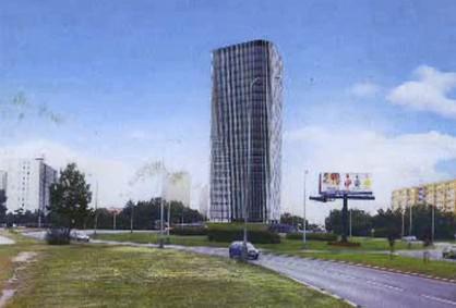 Zamýšlený projekt mrakodrapu na Litochlebském náměstí