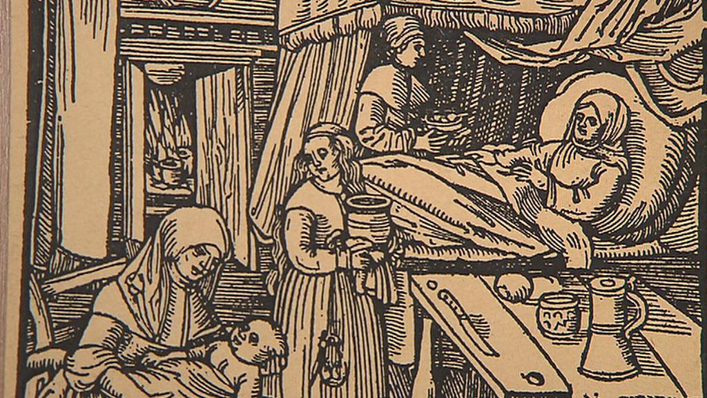 Porod - historická ilustrace