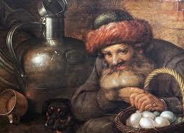 Starý muž s košem vajec, psem a kuchyňským náčiním