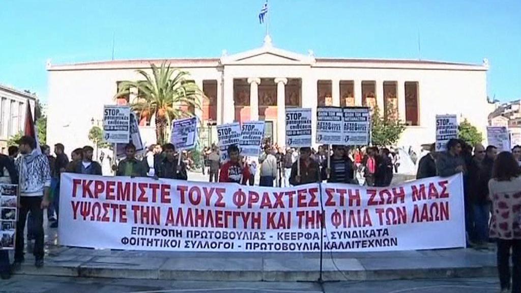 Protesty proti řecko-tureckému plotu