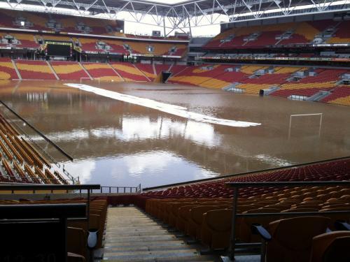Zaplavený stadion v Brisbane