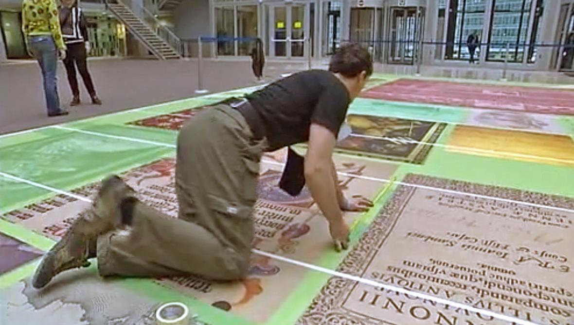 Instalace maďarského kulturního koberce v Bruselu