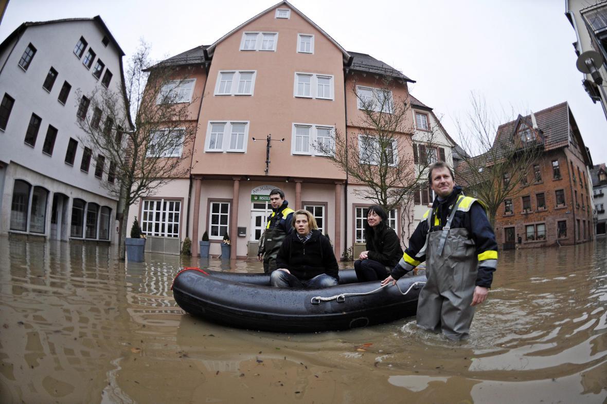 Záplavy v německém Wertheimu