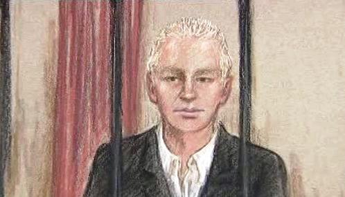 Julian Assange na soudní kresbě