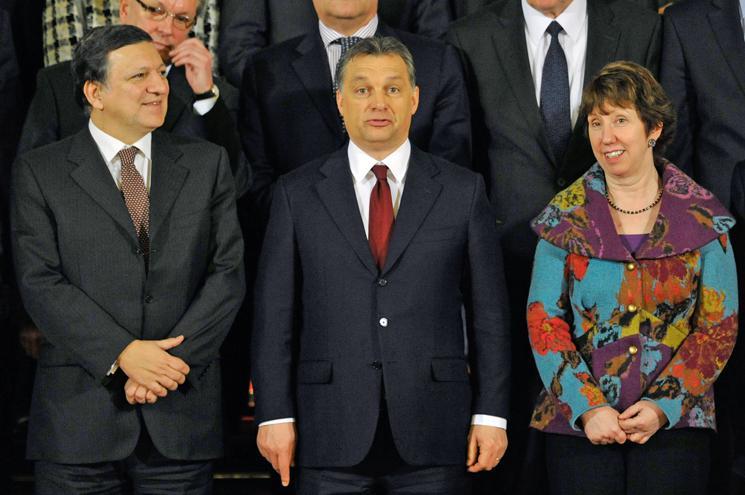 Jose Manuel Barroso, Viktor Orbán a Catherine Ashtonová