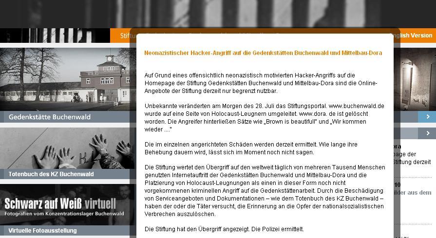Hackeři zaútočili na stránky památníku v Buchenwaldu
