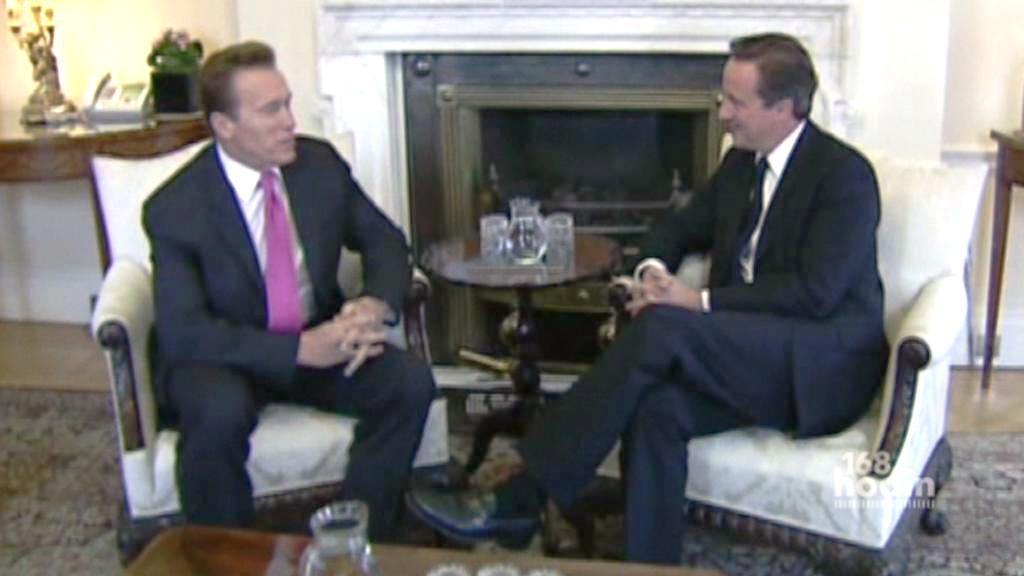 Arnold Schwarzenegger a David Cameron