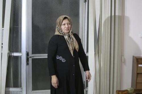 Sakíne Aštíaníová na setkání s novináři