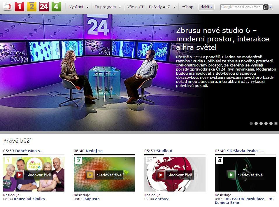 Titulní strana webu ČT