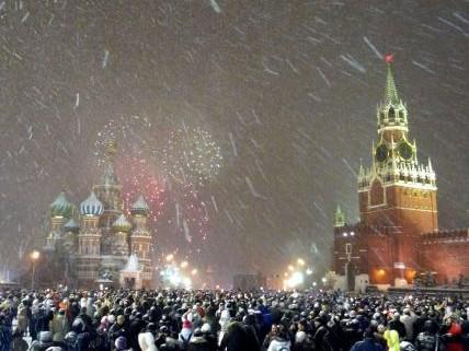 Silvestr 2010 na moskevském Rudém náměstí