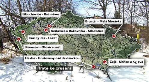 Mapa rušených tratí