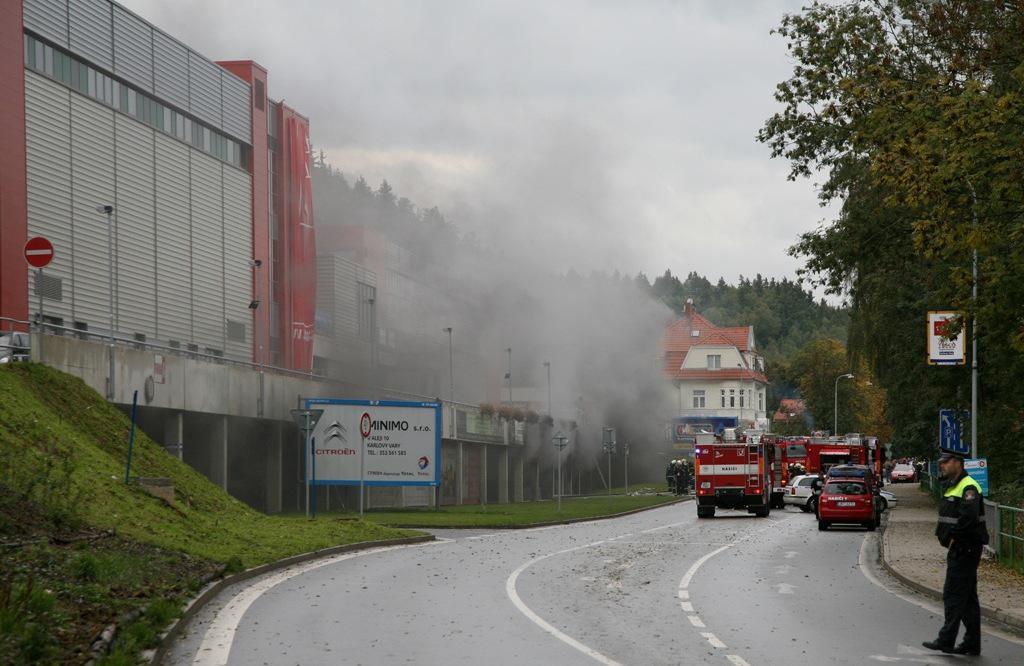 Požár v karlovarské KV Areně
