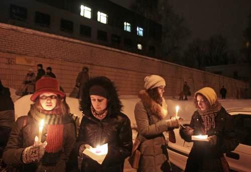 Protest před věznicí v Minsku