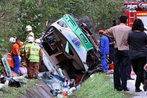 Nehoda autobusu v Malajsii