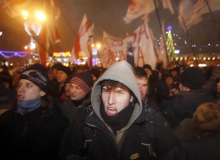 Opoziční demonstrace proti prezidentu Lukašenkovi