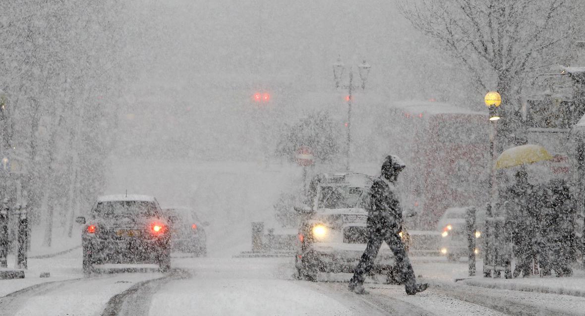 Husté sněžení v Londýně