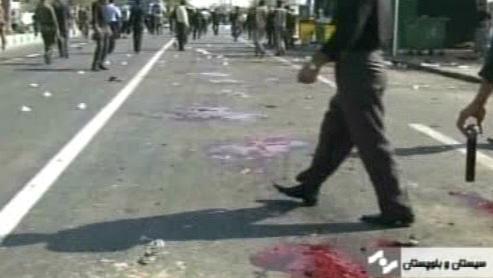 Následky atentátu na mešitu v íránském Čábháru