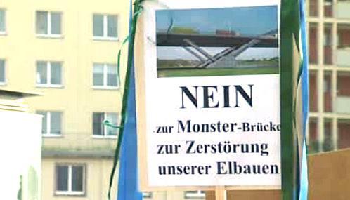 Protest proti drážďanskému mostu Waldschlößchenbrücke