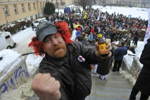 Demonstrant na Palackého náměstí