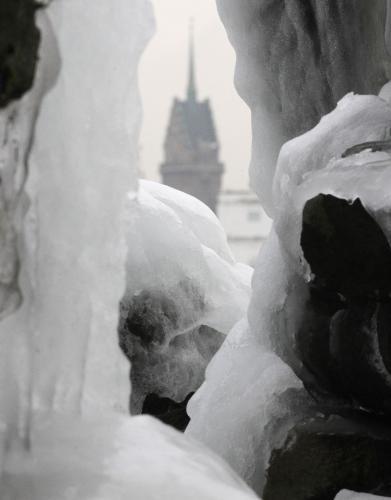 Zamrzlá fontána v Duisburku