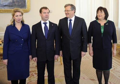 Dmitrij Medvěděv na oficiální návštěvě Polska