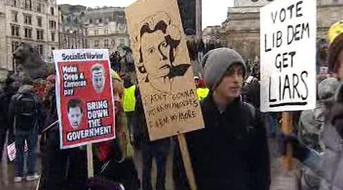 Studentský protest v Británii