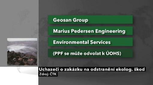 Uchazeči o zakázku na odstranění ekologických škod