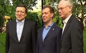 José Barroso, Dmitrij Medvěděv a Herman Van Rompuy