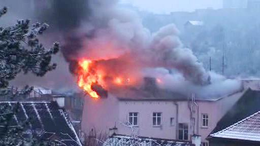 Požár domu v Karlových Varech