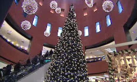 Vánoční výzdoba v nákupním centru