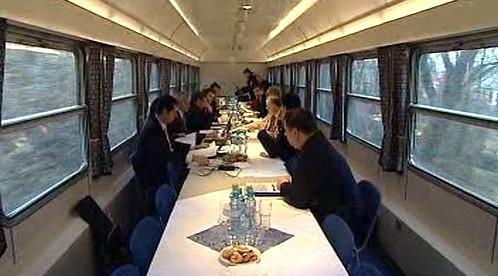 Zasedání Rady kraje Vysočina ve vlaku