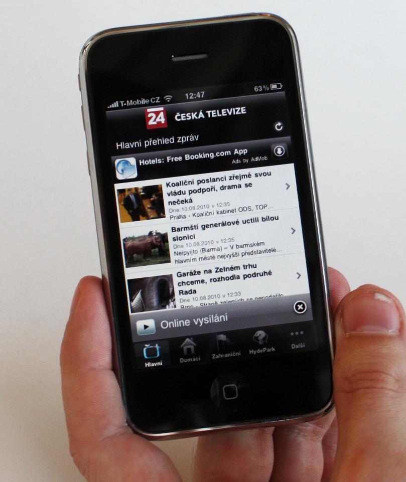 Aplikace ČT24 pro telefony iPhone