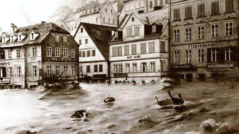 Karlovy Vary, povodeň, 1890