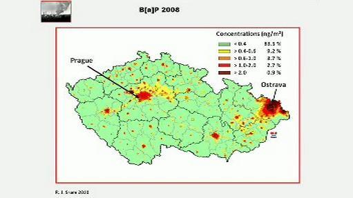 Koncentrace benzoapyrenu v ČR