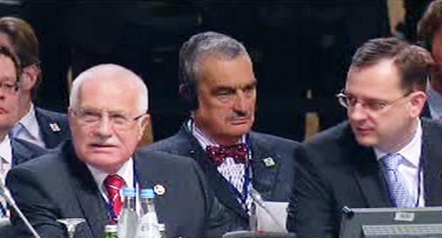 Alexandr Vondra, Václav Klaus, Karel Schwarzenberg a Petr Nečas