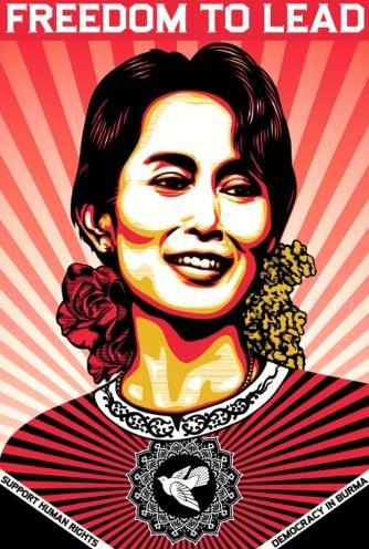 Plakát na podporu Su Ťij