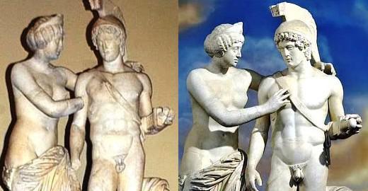 Socha Venuše a Marta - před a po restauraci