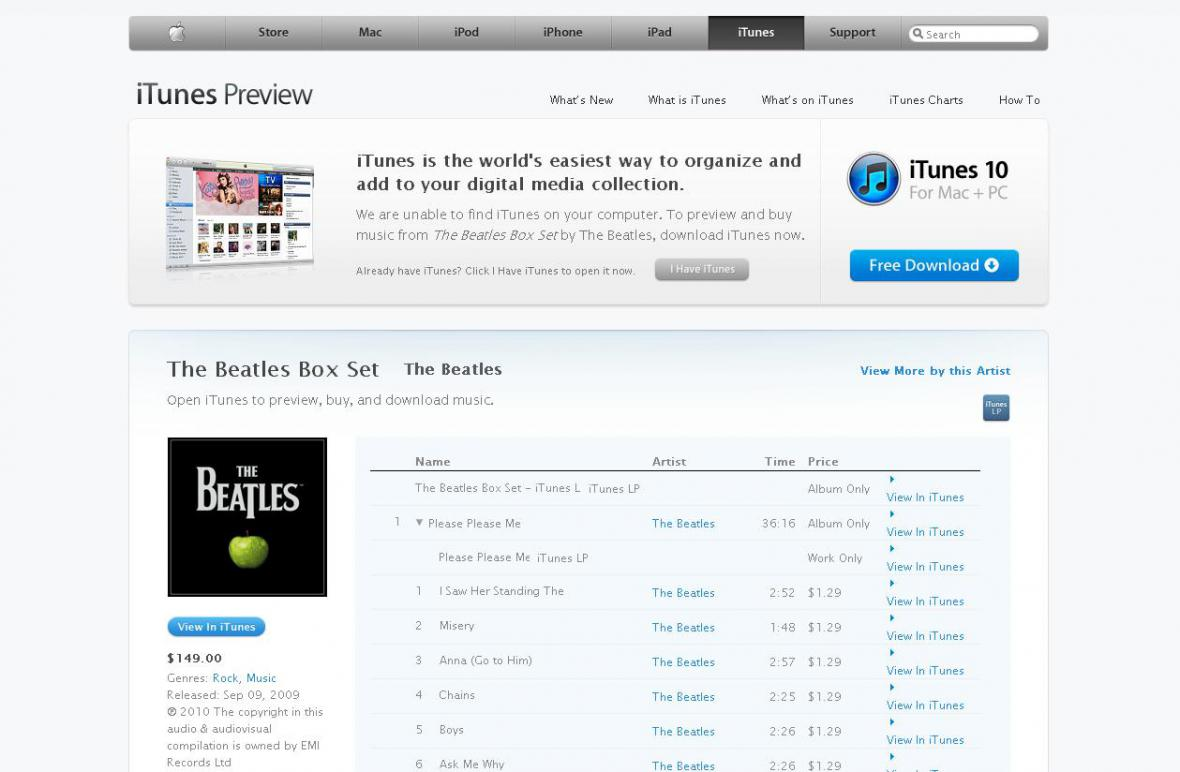 Beatles na iTunes