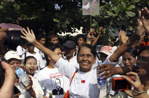 Příznivci Su Ťij se radují
