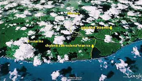 Sporné území na hranici mezi Nikaraguou a Kostarikou