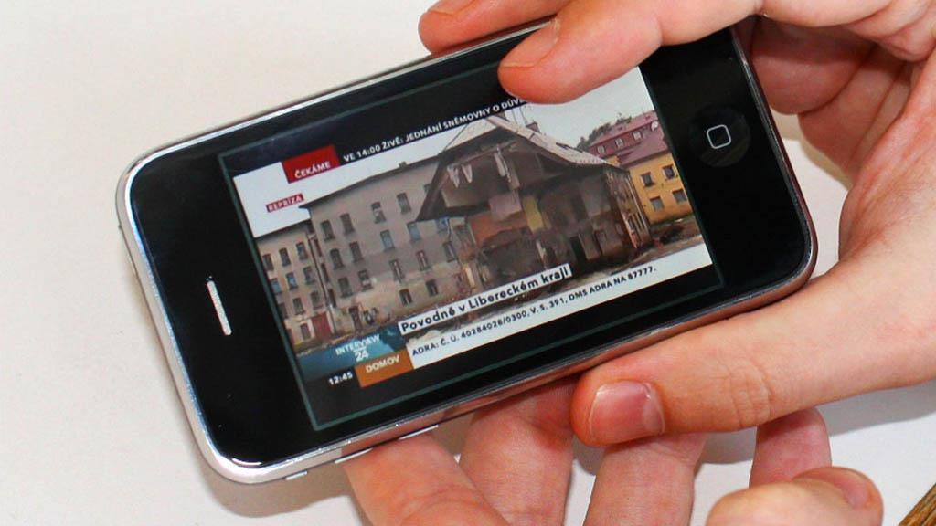 Živé vysílání ČT24 v telefonu iPhone