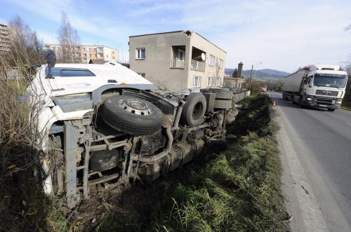Tahač po nehodě