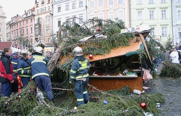 Spadlý strom na Staroměstkém náměstí
