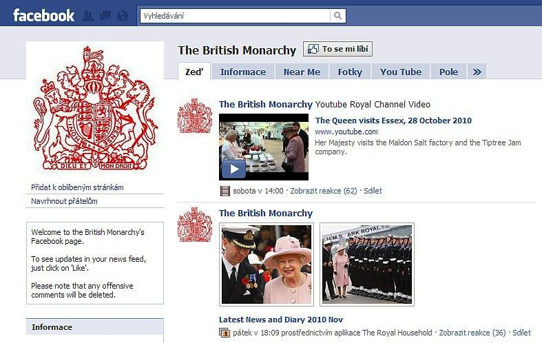 Facebook britské monarchie