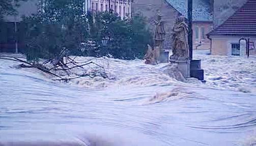 Ničivé povodně v Písku v roce 2002
