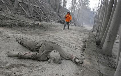 Následky výbuchu sopky Merapi