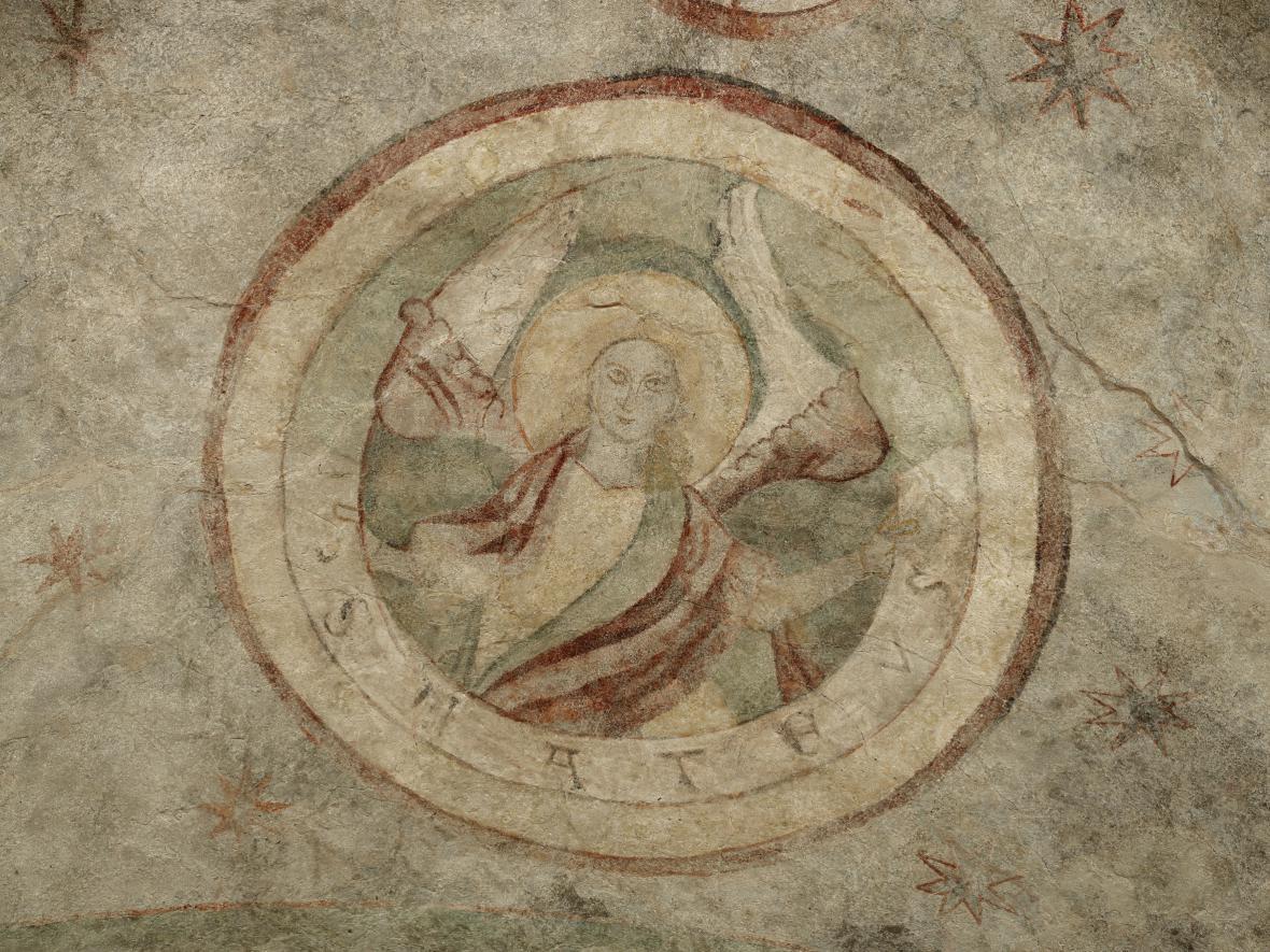 Medailon na klenbě domu U Kamenného zvonu