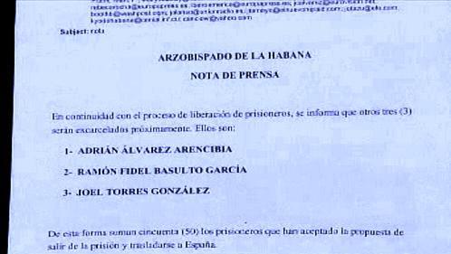 Dopis havanského arcibiskupa o propuštění tří disidentů