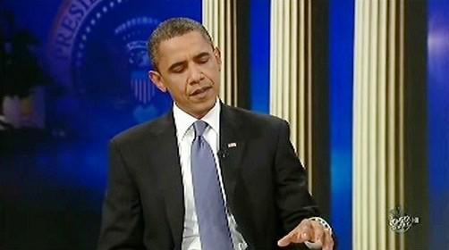 Barack Obama v show Jona Stewarta