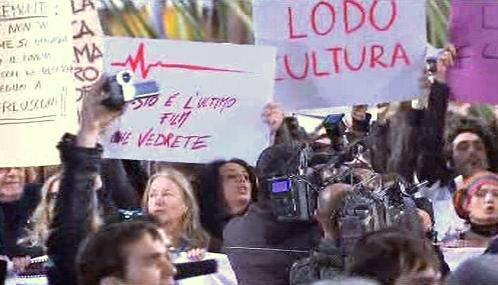 Protest filmařů v Římě